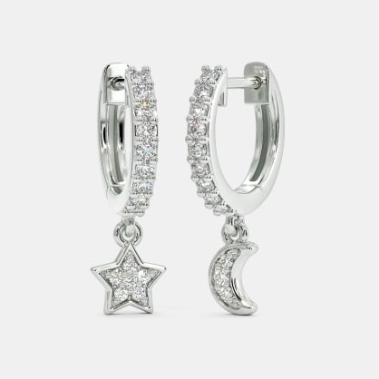 The Libby Star Moon Hoop Earrings