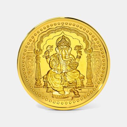 5 gram 24 KT Ganesh Gold Coin