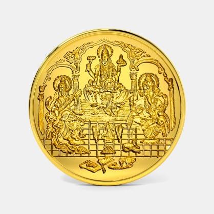 5 gram 24 KT Lakshmi Ganesh Saraswati Gold Coin