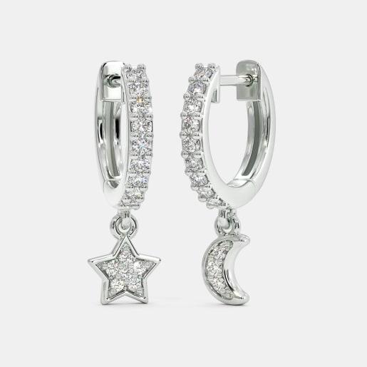 The Libby Star Moon Hoop Earrings